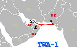 A map showing the route of the TWA-1 telecommunication cable.
