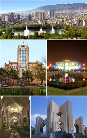 Clockwise from top: Skyline of the city, El-Gölü, Mausoleum of Poets, Bazaar of Tabriz, and the Tabriz Municipality Palace.