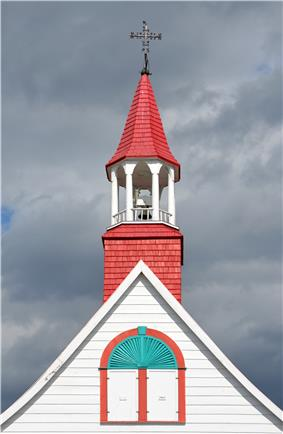 The spire of The Sainte-Croix-de-Tadoussac Mission Church