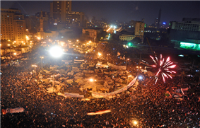 Large nighttime demonstration with fireworks