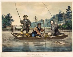 Old colored print of three men fishing from a boat