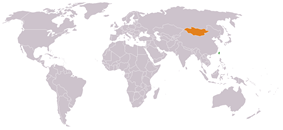 Map indicating locations of Taiwan and Mongolia