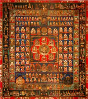 Geometric arrangement of a large number of deities.