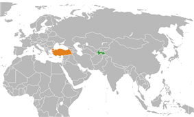 Map indicating locations of Tajikistan and Turkey