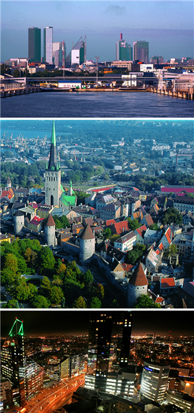 A collage of Tallinn showing a view from the sea, the Old Town and a night view of the downtown
