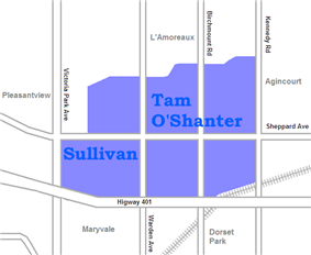 Sullivan is west of Warden while Tam O'Shanter is east