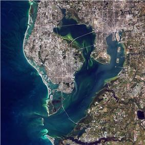 A simulated-color satellite image of the Tampa Bay Area. Taken on NASA's Landsat 7 satellite.