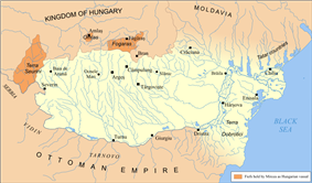 Map of Wallachia around 1404