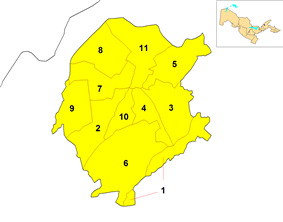 Map of the districts of Tashkent