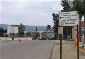 Mexico-United States border crossing from Tecate, California