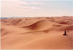 Landscape of the southern fringe of the Tengger Desert