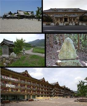 Top left:View of Headquarter in Tenri religious community, Top right:Tenri religious school, Middle left:View of a point of side of mount Miwa road, Middle right:Stone site in Ryuo Mount Castle, Bottom:Tenri Reference Museum