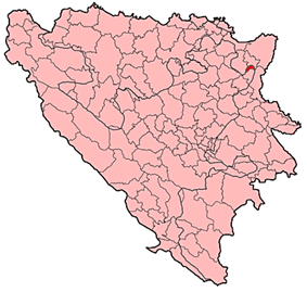Location of Teočak within Bosnia and Herzegovina.