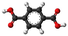 Ball-and-stick model of the terephthalic acid molecule
