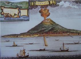 A drawing of a volcano erupting orange lava and black smoke into the air with a body of water in the foreground and ships sailing in it.