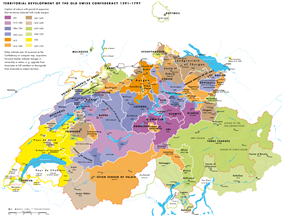 Multicolored map of Switzerland