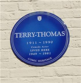blue plaque commemorating Terry-Thomas