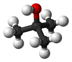 Ball and stick model of tert-butanol
