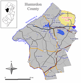 Map of Tewksbury Township in Hunterdon County. Inset: Location of Hunterdon County highlighted in the State of New Jersey.