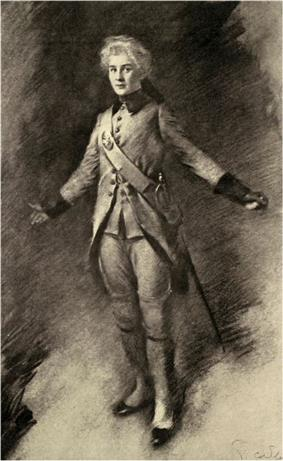 full length portrait of a woman dressed as a boy in eighteenth century military costume