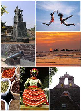 Clockwise from top:Hermann Gundert Statue, Kalaripayattu Training, Muzhappilangad Beach, Thalassery fort, Theyyam, Spice Market, Cannons near Pier