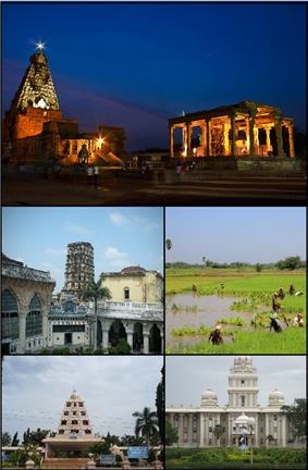 A montage image showing temple complex with temple tower in the centre, Maratha palace, paddy field, Rajarajachola Mandapam and Tamil University