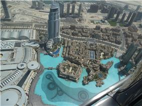 Aerial view of Downtown Dubai from Burj Khalifa