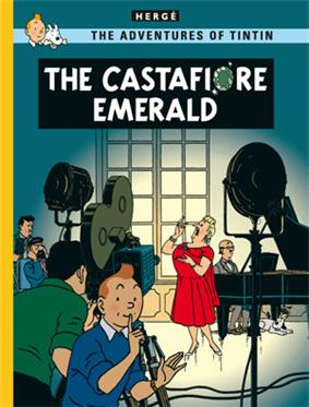 Tintin is looking at us, signaling us to stay quiet, as Castafiore is being filmed for television in the background while at Marlinspike Hall.