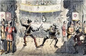 A view from the back of a stage. Two unkempt actors enact a sword fight for the audience. Men dressed as soldiers lounge and drink behind the props.