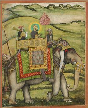 Shah, distinguished by a halo, with two other men on an elephant
