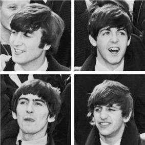 A head shot of each of the four Beatles.