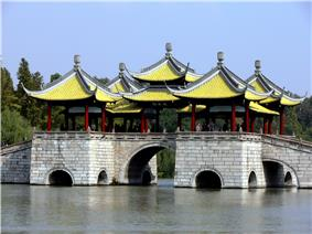 Five Pavilion Bridge at the Slender West Lake