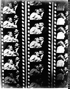 Three black-and-white film strips showing a woman and man facing each other and then eventually kissing. Each film strip has about five visible frames.