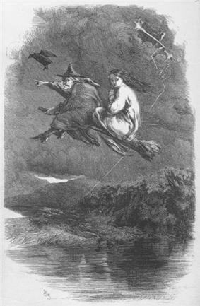 Two women on a broomstick
