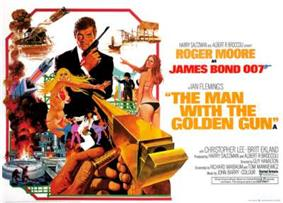 A man in a dinner jacket holding a pistol is in the centre of the picture. Various scenes and images surround him, including two women in bikinis, a midget with a pistol, a car stunt and explosions. At the bottom right, oversized and pointing towards the man in the dinner jacket, is a golden gun, with a hand holding a bullet, about to load the gun. The top of the picture has the words