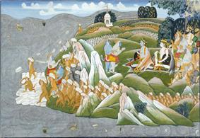 A 19th-century painting depicting a scene from Ramayana, wherein monkeys are shown building a bridge to Lanka