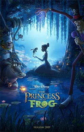 Cartoon image of a woman kneeling in the Louisiana bayou in a princess costume with a frog in her hand, as a voodoo priestess, a witchdoctor, a firefly, and an alligator look on.