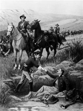 A sketch of a Cavalry officer greeting another wounded Officer on Beecher Island, Colorado, with mounted trooper of the 10th Cavalry holding horse on 25 September 1868