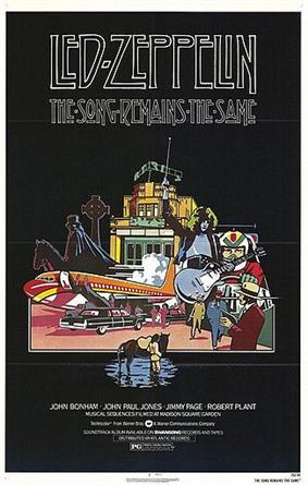 A line drawing of Zeppelin's plane, Jimmy Page, the arena, and other elements of the film on a black background