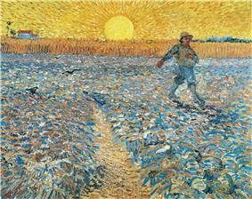 A man is scattering seeds in a ploughed field. The figure is represented as small, and is set in the upper right and walking out of the picture. He carries a bag of seed over one shoulder. The ploughed soil is grey, and behind it rises standing crop, and in the left distance, a farmhouse. In the center of the horizon is a giant yellow rising sun surrounded by emanating yellow rays. A path leads into the picture, and birds are swooping down.