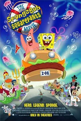 Film poster showing SpongeBob SquarePants (right) and Patrick Star (left) waving on a car shaped like a sandwich. Below them are various Bikini Bottom residents watching the pair, including Mr. Krabs, Squidward Tentacles, and Sandy Cheeks. In the upper left side of the image is the film title. Below is shown