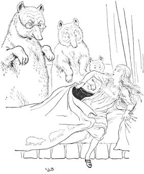 three bears overlook a bed as a scared girl leaps from the bed