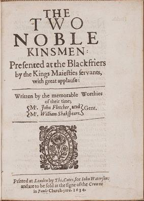 Title page of a play showing the co-authors John Fletcher and William Shakespeare.