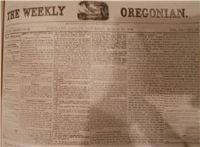 The Weekly Oregonian front page on March 19, 1859