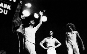 The Who waving to a crowd