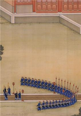 Painting of people on a path in a large courtyard, flanked by soldiers, viewed from a distance