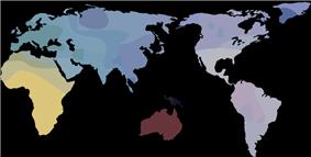Multi-colored world map