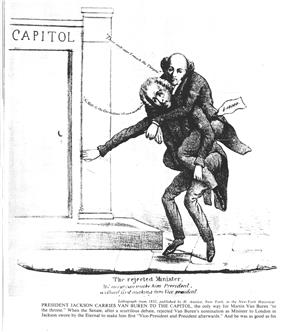 Cartoon image of an older man riding on the back of another older man and stumbling toward the steps of a building labeled