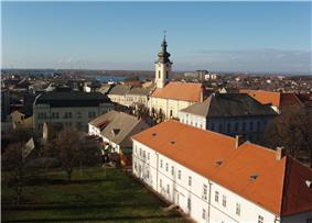 Panoramic view over centre of Sremska Mitrovica