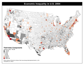 Map of economic inequality in the United States using the Theil Index. A high positive theil index indicates more income than population while a negative value shows more population than income. A value of zero shows equality between population and income.